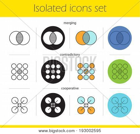 Abstract symbols icons set. Linear, black and color styles. Merging, contradictory, cooperative concepts. Isolated vector illustrations