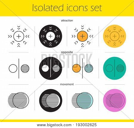 Abstract symbols icons set. Linear, black and color styles. Attraction, opposite, movement concepts. Isolated vector illustrations