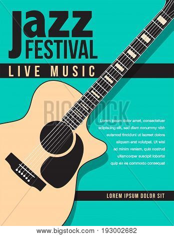 Jazz festival music background with a generic acoustic guitar