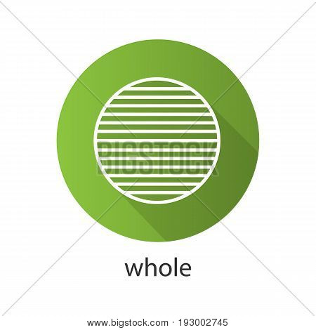 Whole symbol flat linear long shadow icon. Sliced circle. Abstract metaphor. Vector outline symbol