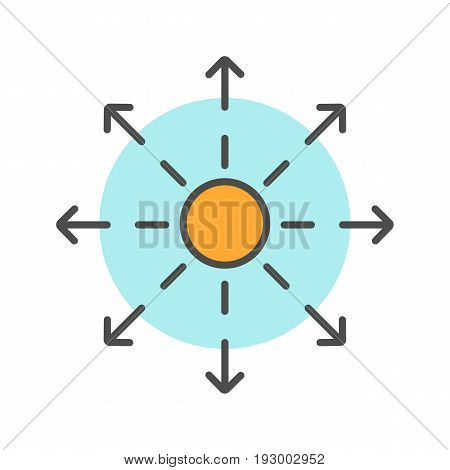 Spreading symbol color icon. Distribution abstract metaphor. Isolated vector illustration