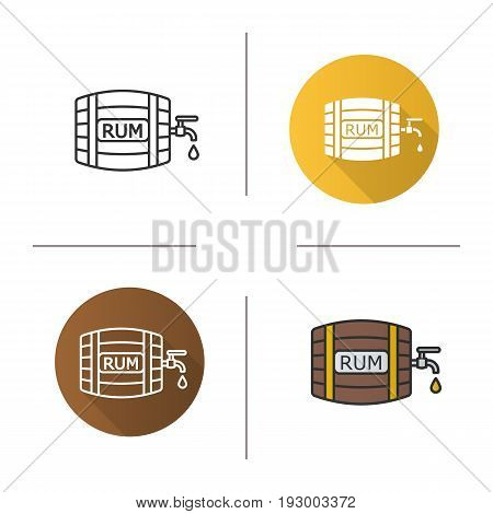 Rum wooden barrel icon. Flat design, linear and color styles. Alcohol barrel with tap and drop. Isolated vector illustrations