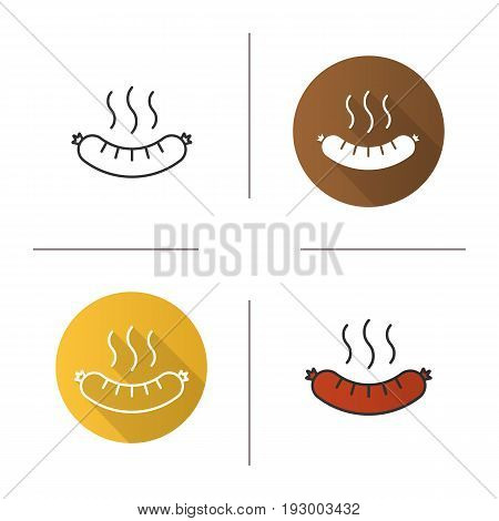 Steaming sausage icon. Flat design, linear and color styles. Bratwurst. Hot sausage isolated vector illustrations