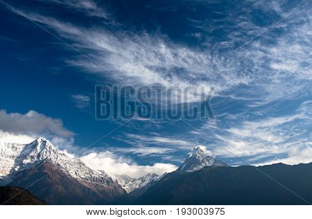 Panorama of mount Annapurna and mount Machapuchare (Fishtail) in the Nepal Himalaya.