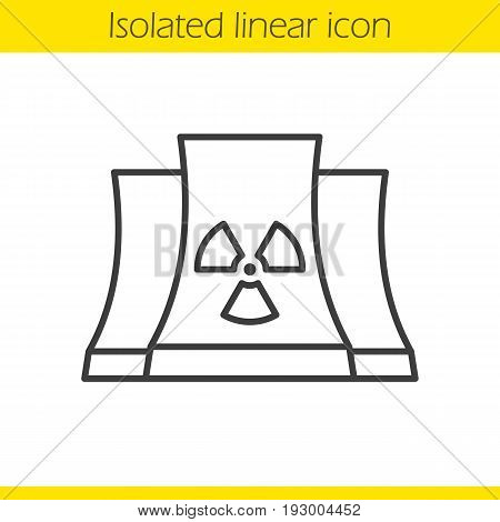 Nuclear power plant linear icon. Thin line illustration. Radiation contour symbol. Vector isolated outline drawing