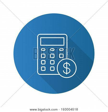 Calculations flat linear long shadow icon. Calculator with dollar sign. Financial planning. Vector outline symbol
