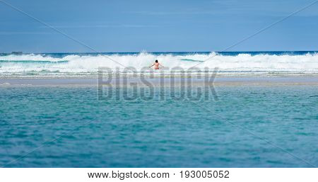 Woman Enjoying The Sea And Waves Of Atlantic Ocean.