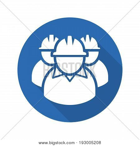 Mine workers flat design long shadow glyph icon. Industrial factory workers. Vector silhouette illustration