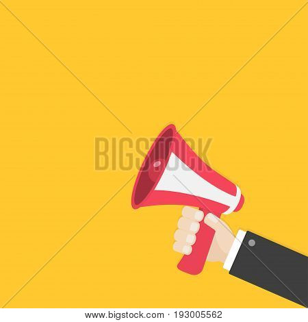 Businessman hand holding megaphone speaker loudspeaker icon. Announcement sign symbol. Flat design. Red color. Right corner template. White background. Isolated. Vector illustration