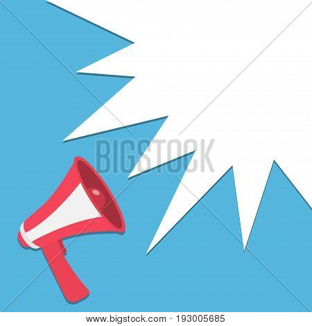 Megaphone speaker loudspeaker round icon. Announcement sign symbol in the corner. Star speech talking bubble template. Flat design. Red color. Blue background. Isolated. Vector illustration
