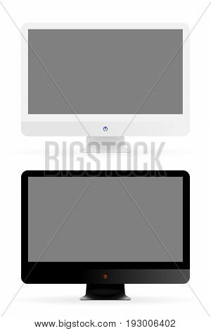 Vector modern monitor. Set of black and white computer monitors