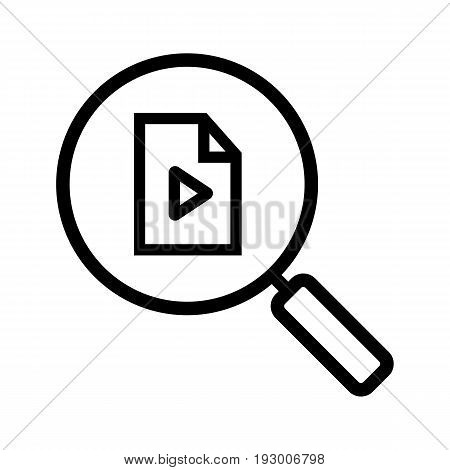 Media file search linear icon. Thin line illustration. Magnifying glass with multimedia file. Contour symbol. Vector isolated outline drawing