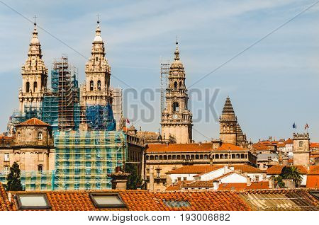 Santiago de Compostela's Cathedral in restoration. Spain.