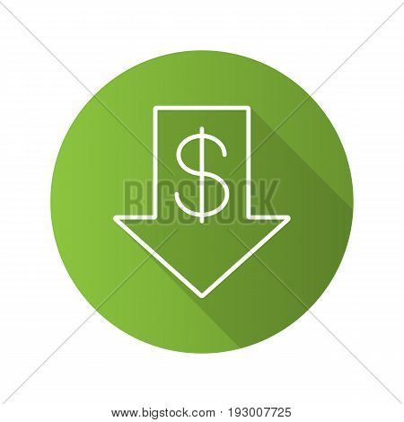 Dollar rate falling flat linear long shadow icon. US dollar with down arrow. Vector outline symbol