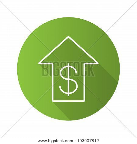 Dollar rate rising flat linear long shadow icon. US dollar with up arrow. Vector outline symbol