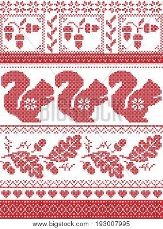 Scandinavian and Norwegian Christmas culture inspired festive winter pattern in cross stitch with squirrel, acorn, oak leaf, love heart , snowflake, square tiles ornaments in red and white