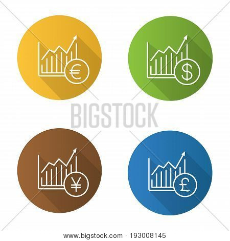 Forex market growth charts flat linear long shadow icons set. Statistics diagrams with dollar, euro, yen and pound signs. Vector line illustration