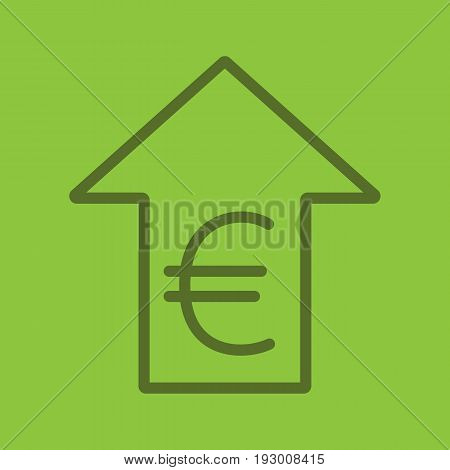Euro rate rising color linear icon. European Union currency with up arrow. Thick line outline symbols on color background. Vector illustration