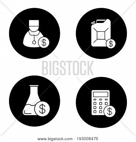 Services icons set. Petrol trade, research price, doctor service, financial planning. Vector white silhouettes illustrations in black circles