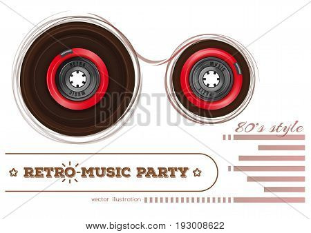 Vintage audiocassette. Retro music party. 80s style. Music design concept with analogue audio cassette tape and lettering. Vector illustration