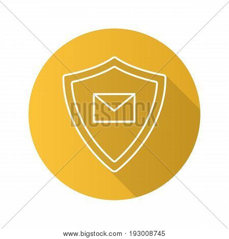 Email security flat linear long shadow icon. Sms message inside protection shield. Spam filter protection. Vector outline symbol
