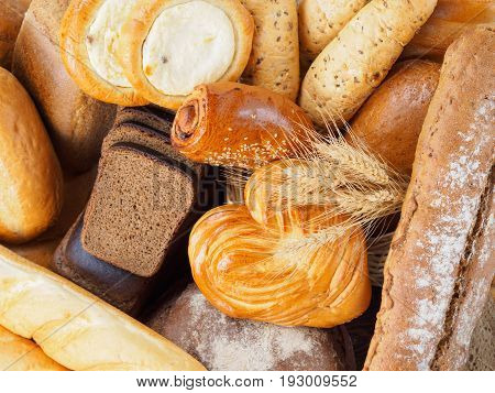 Russian bread. Assortment different types of traditional russian bread. Rustic style bread. Top view or flat lay.