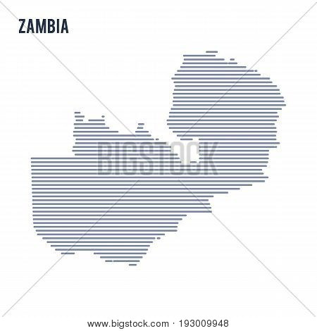Vector Abstract Hatched Map Of Zambia With Lines Isolated On A White Background.