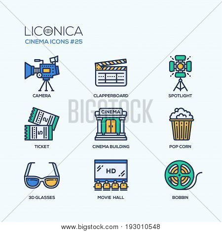 Cinema - modern vector flat line design icons set. Camera, clapperboard, spotlight, ticket, building, pop corn, 3d glasses, movie hall, bobbin. Film your masterpiece and show it to the world.