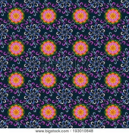 Vector flower illustration. Seamless pattern with floral motif. Seamless floral pattern with flowers watercolor.
