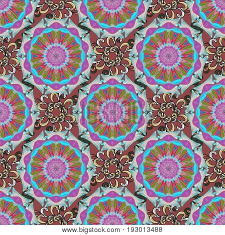 Vector nature seamless pattern with abstract ornament. Vector round mandala in childish style. Ornamental doodle background.