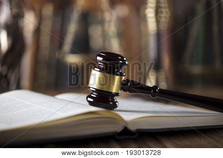 Law symbols, gavel, books. Law concept background. Place for text.