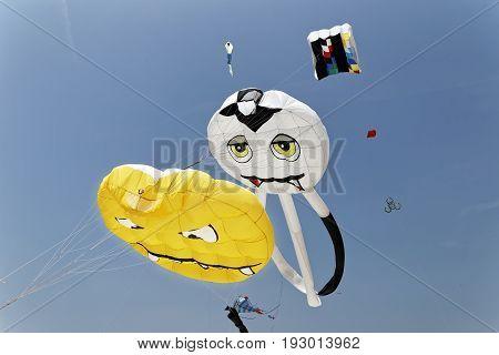 PEROJ, CROATIA - JUNE 24 2017: First international kite festival ''FLYin Fest'' on beach Martulina from June 23--25 2017.
