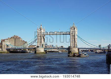 LONDON, UNITED KINGDOM - APRIL 09: Tower Bridge in London on APRIL 09, 2017. Bascule Tower Bridge Over Thames River in London, United Kingdom