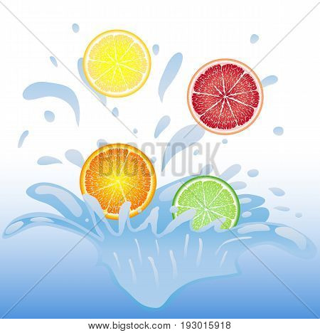 Pieces of fruit falling into the water, orange, lemon, lime, grapefruit. Splash of water. Drops flying in the air, water spray.