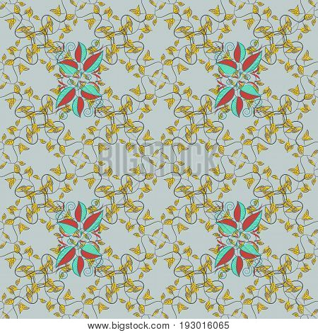 Multicolor ornament of small simple pink flowers vector abstract seamless pattern for fabric or textile design.