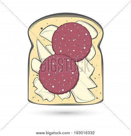 Vector stylized image of a slice of bread in a toast spread with a thick layer of butter and two slices of sausage.