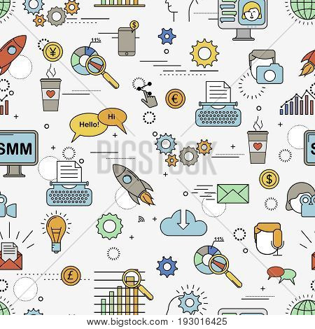 Social Media Marketing seamless pattern with different design element.