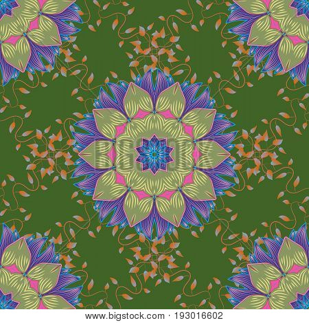Template Colored mandala vector circle of zentangle hand drawn on background.