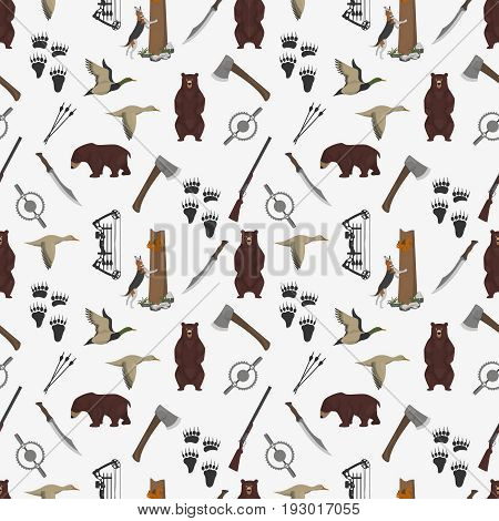 Seamless pattern with different hunter design element. Vector illustration