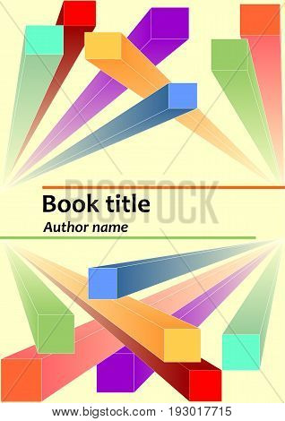 Book cover template with abstract prismatic 3d colorful elements. Descriptive geometry shapes in space. Useful as leaflet poster flyer textbook publication or magazine template.