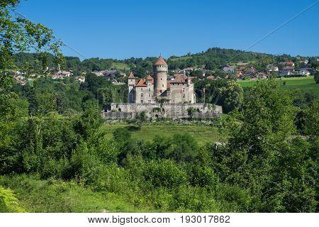 ANNECY FRANCE - JUNE 17 2017: The Chateau de Montrottier (Montrottier Castle) near Annecy Haute Savoie France