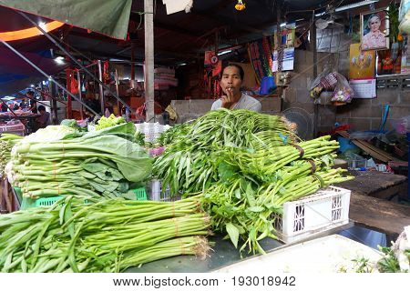 Mae Klong Market Placed All Product On Railroad