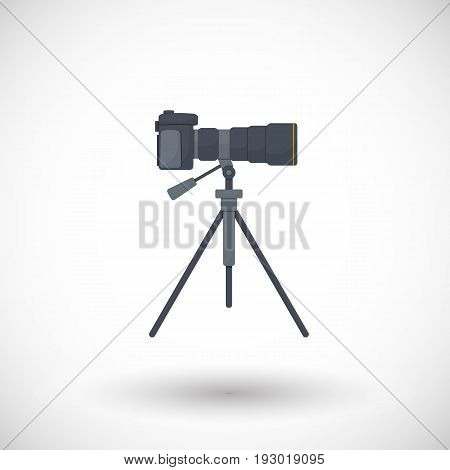 Photo camera on tripod flat vector icon flat design of travel hobby and photo shooting object with round shadow isolated on the white background vector illustration