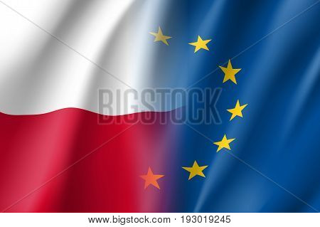 Symbol of Poland is EU member. European Union sign with twelve gold stars on blue and Poland national flag. Vector isolated icon
