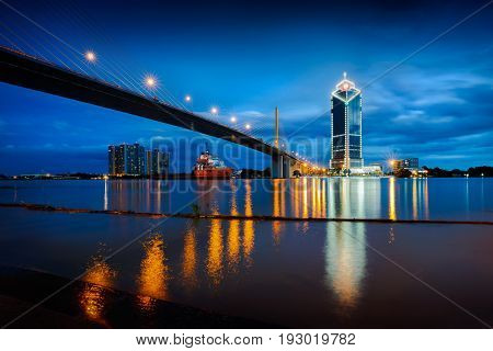 Rama 9 bridge Chaopraya river at dusk Bangkok Thailand