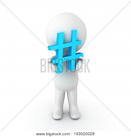 3D Character Holding A Blue Pound Or Hashtag Sign