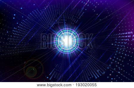 Abstract virtual space technology background. Vector illustration.