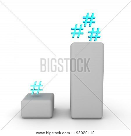 3D graph with two columns one with many hashtags and another with one. Isolated on white.
