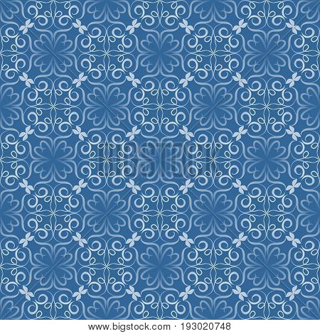 Seamless decorative vector tile with white filigree lace patterns on blue background in art nouveau style. Vintage background with geometric regular ornament