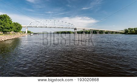Wabasha-Nelson Bridge Spans the Mississipi River from Wabasha Minnesota to Nelson Wisconsin